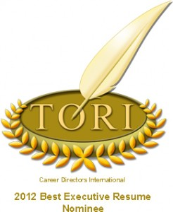 TORI Award Nomination for Best Executive Resume logo