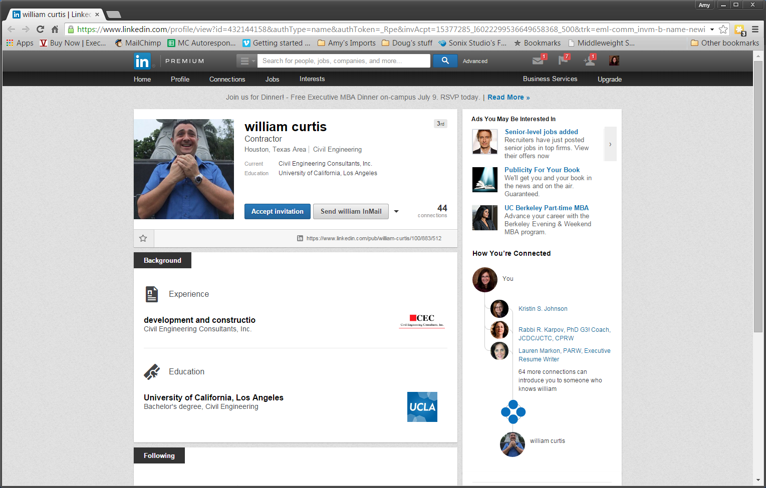 Example of a Fake LinkedIn Profile.