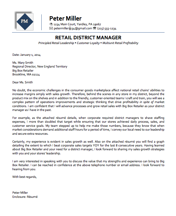 District Manager Executive Cover Letter